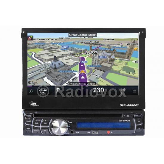 RADIO DVD 1 DIN CON USB SD BLUETOOTH PANTALLA TACTIL 7´´ CON FRONTAL EXTRAIBLE KDX DVX-800GPS