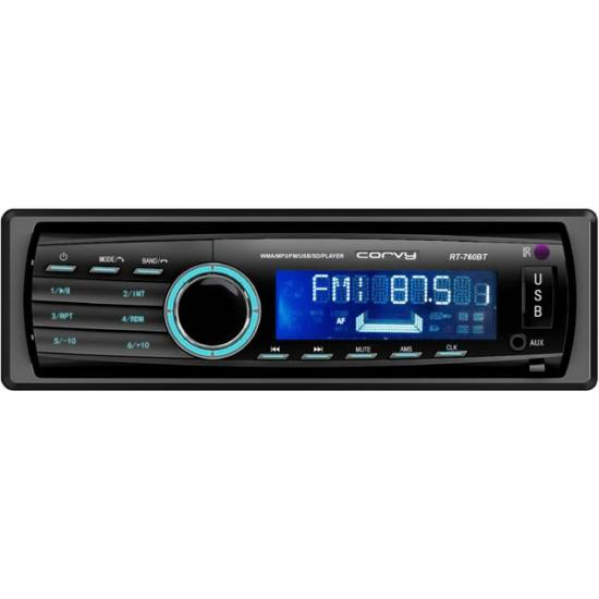 Auto-radio MP3 con carátula extraible USB SD Bluetooth y mando a distancia 4x60W Corvy RT-760 BT
