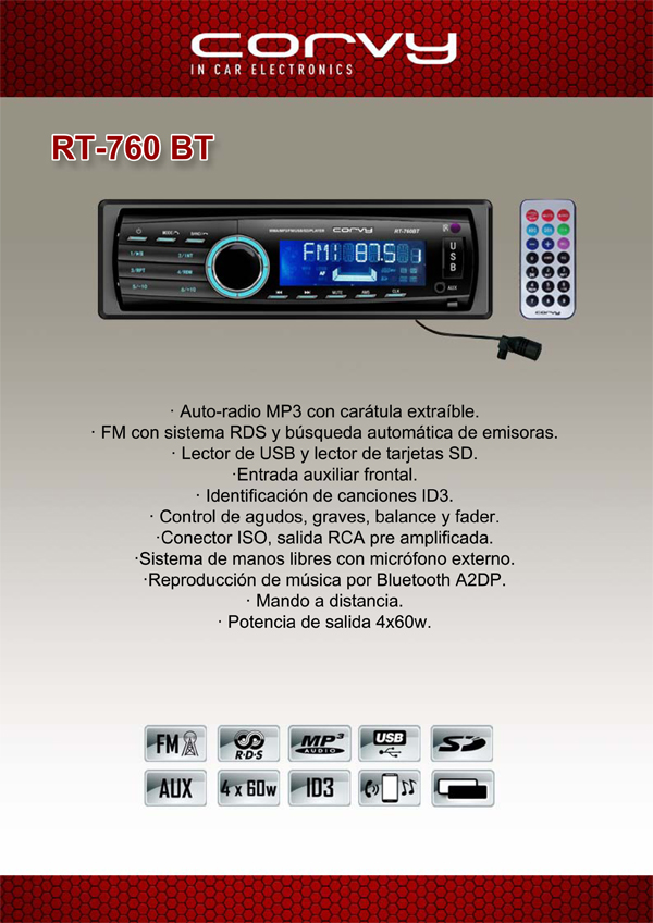 Auto-radio MP3 con carátula extraible USB SD Bluetooth y mando a distancia 4x60W Corvy RT-760 BT #2