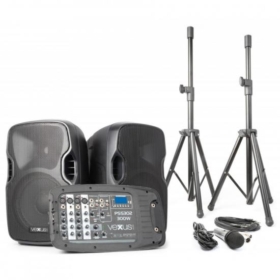 "Vexus PSS302-eu 170.118 Set Portatil 10"" SD/USB/MP3/BT con Tripode Vexus  PSS302"