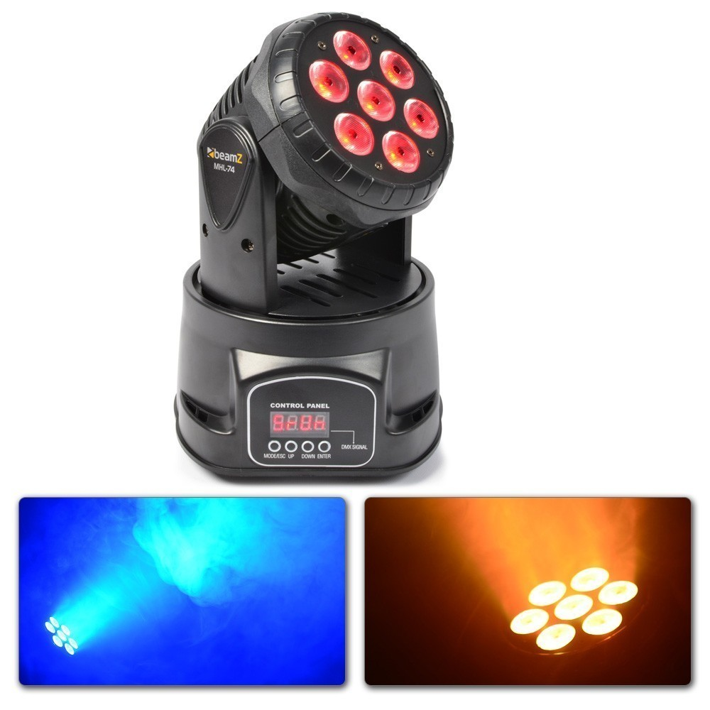 013386 Mini Cabeza Movil Wash 7X 10W DMX 12 Canales Quad LED 150.518  BeamZ MHL-74