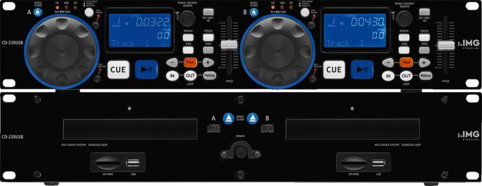 Lector CD y MP3 DJ doble profesional, con interfaz USB 2.0 y ranura SD/MMC IMG Stage Line CD-230USB