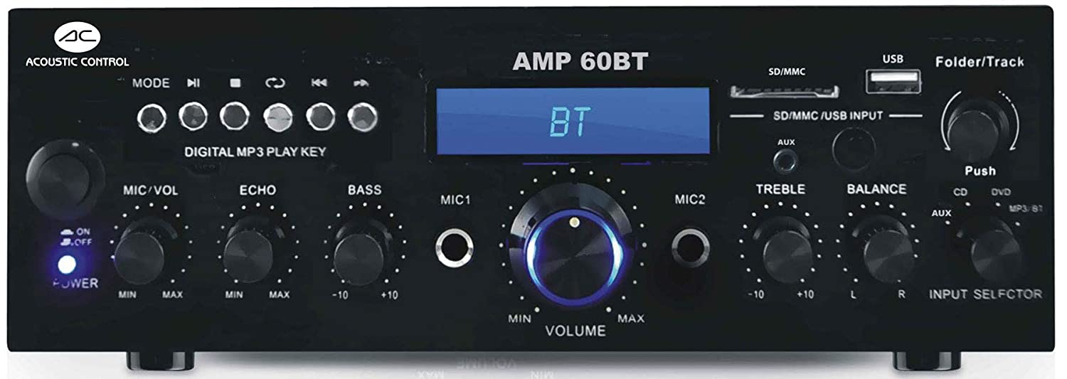 Amplificador Hi-Fi estéreo con reproductor MP3, Bluetooth, radio FM Acoustic Control AMP 60 BT