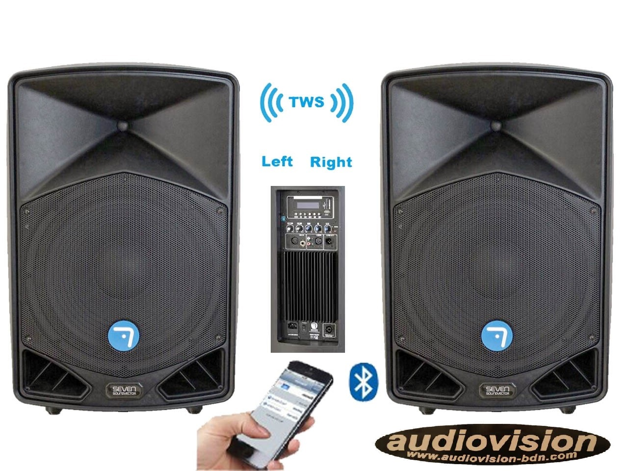 altavoces amplificados 500Wrms/1600Wx2=3200w BT TWS estereo sin cables  Seven  PACK SV15APRO TWS