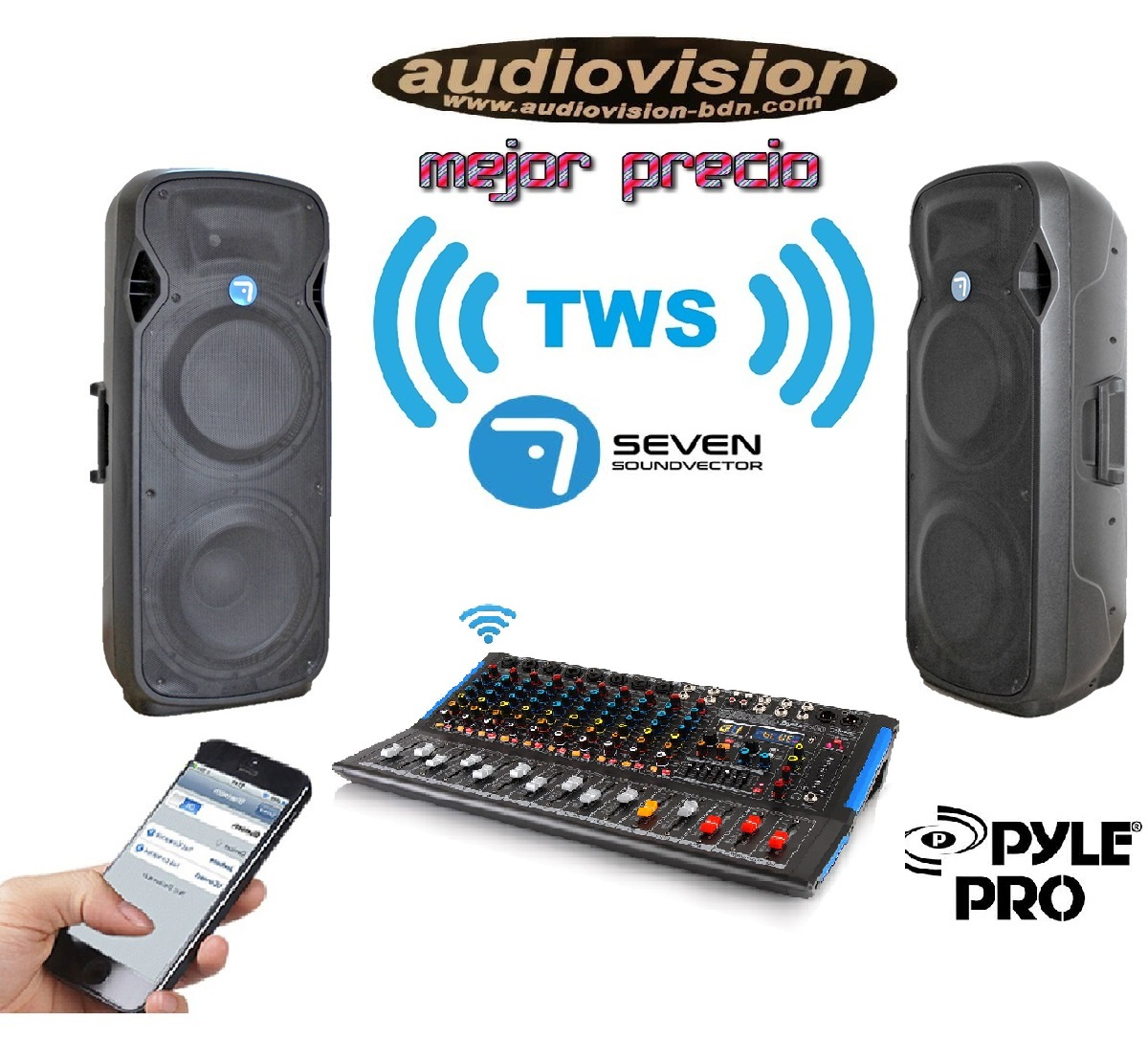 PACK PRO DIRECTO ] PACK4000W SEVEN* MEZCLADORA 6 CANALES PYLE* Audiovision