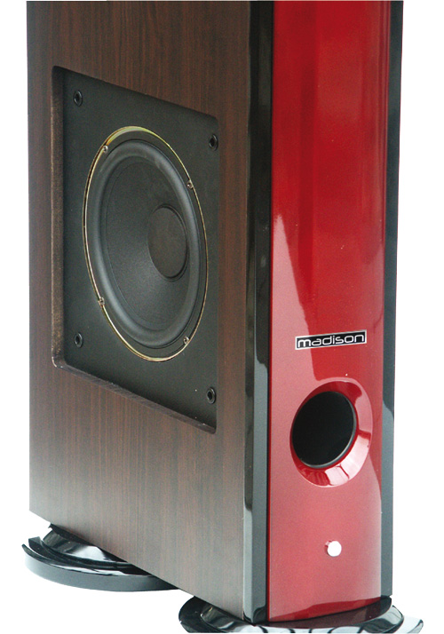 BAFLES HI-FI ROJO Y NEGRO DE 3 VIAS 120W MADISON MAD-92F-RE #3