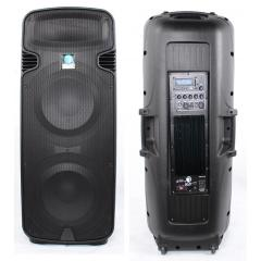 "Caja via amplificada 700W rms 2000W max doble15"" Bluetooth FM USB SD  Seven  PASV-215A"