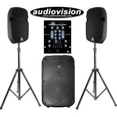 Pack subwoofer 300W + 2 Altavoces 300W + Mezclador 2 Canales con USB SD Bluetooth Acoustic Control DJ COMPLETO 1 SUB