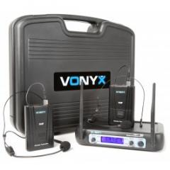 179.220 VHF Sistema inalámbrico de 2 canales con dos bodypacks y Display Vonyx WM512H