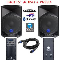 PACK SONIDO ACTIVA PASIVO 3000W USB/BT/ CABLE  Seven  PACK ACTIVO PASIVO