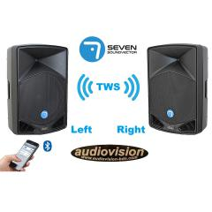 altavoces  via amplificados DSP 500Wrms/1200Wx2=2400w BT tws stereo sin cables Seven  PACK SV12A DSP TWS BT