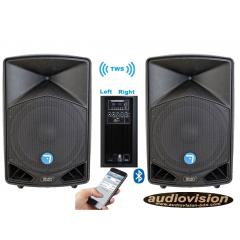 altavoces via amplificados 500Wrms/1200Wx2=2400w BT tws stereo sin cables USB SD Seven  PACK PASV-12APRO TWS