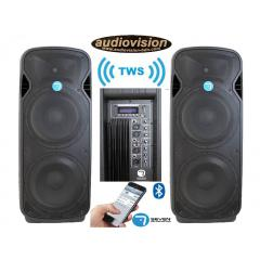 altavoces amplificado 2X15 2000W x 2=4000w MP3/BT/ estereo sin cables Seven  PACK PASV-215A